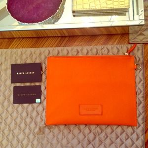 Orange Ralph Lauren envelope clutch