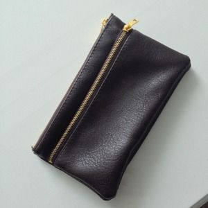 Brown Faux Leather Clutch/Wallet