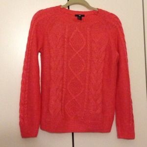 Coral Orange Cable Knit Sweater
