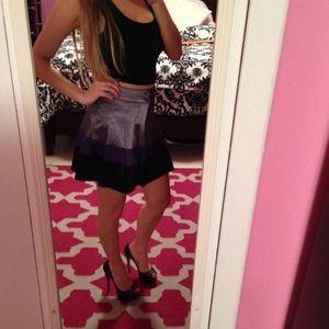 Dresses & Skirts - Multicolor Skater Skirt [Silver,Purple,Black] (XS)