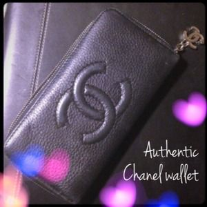Authentic Chanel Zip Around Long Wallet