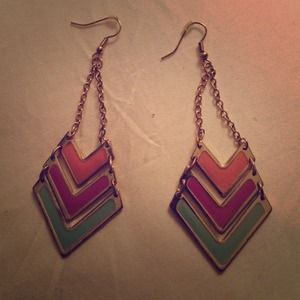 Chevron earrings -- multicolor