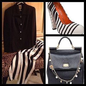 Gorgeous designer black stripe pant suit