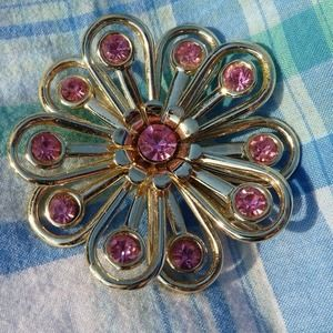 Gold and Pink Flower Brooch