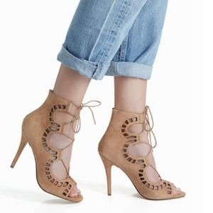 SUEDE CUTOUT TIE UP HEELS