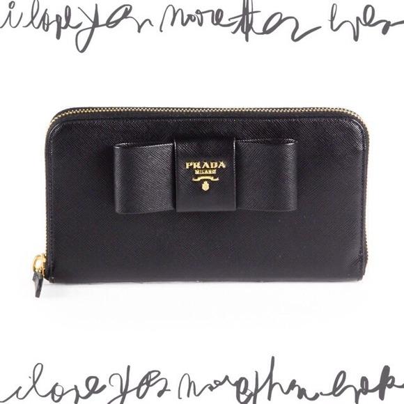 cee2e2b335de78 Prada Bags   Nwb Black Zip Around Saffiano Wallet W Bow   Poshmark