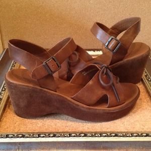 Kork-Ease leather and suede wedge sandals
