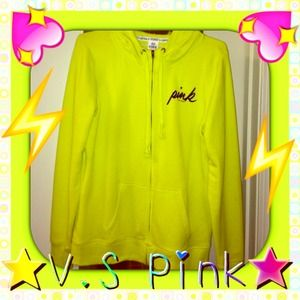 VS PINK worn 2x, fluorescent yellow size Med