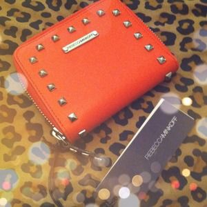 Authentic Rebecca Minkoff Studded Orange Wallet!