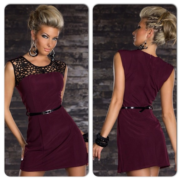 aa9cf6f2565d Dresses | Sexy Black Burgundy Bodycon Lace Top Tank Dress | Poshmark