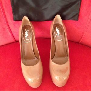 YSL Tribute Two nude patent pumps