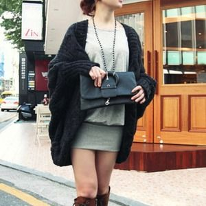 Handbags - Black open front knitted loose sweater