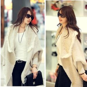 Handbags - Korean style rabbit fur oversized loose sweater