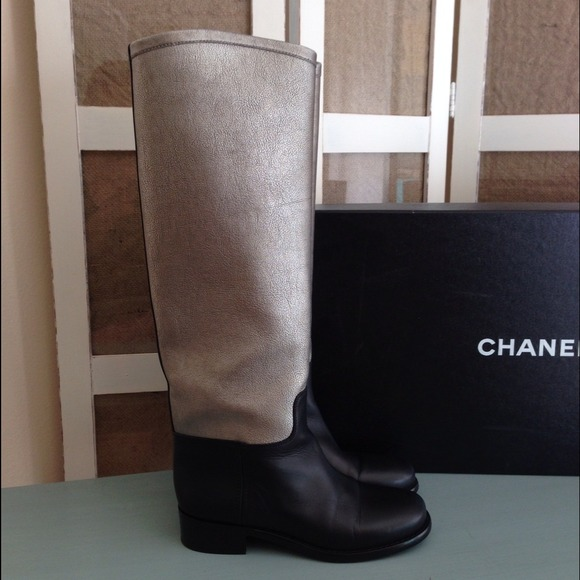 CHANEL Boots - Authentic Chanel Two-Toned Riding Boots