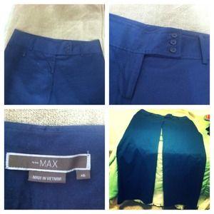 MAX Pants - MAX Navy Blue low-rise wide-leg pants NWOT