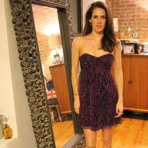 Express Chiffon Animal Print Purple Cocktail Dress
