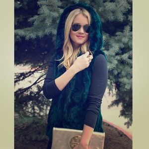 Jocelyn Jackets & Blazers - Luxe Emerald Green Fur Vest