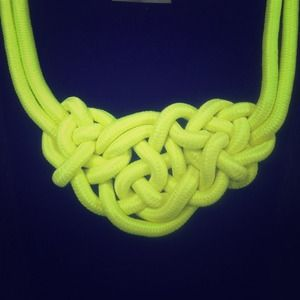 Neon yellow knot necklace
