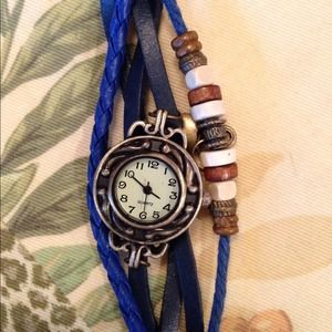 Cutest Fashion Watch in Navy Blue w/beads & charms