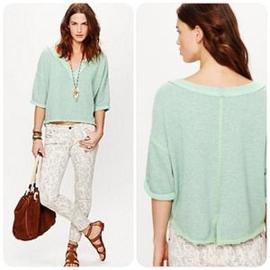 free people // cropped terry sweatshirt • mint