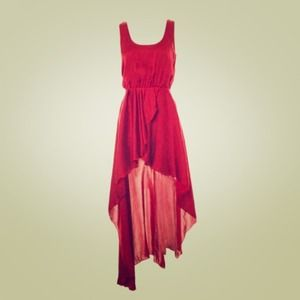 Red high-low dress.