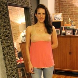 Anthropologie Boudoir Blush Tank W/ Sheer Yoke Top