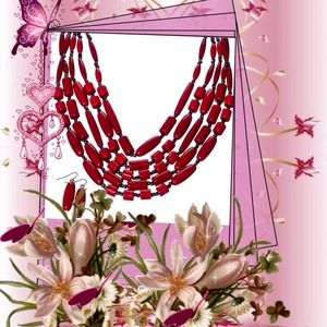 Beautiful Red Bead Necklace and Earring Set!