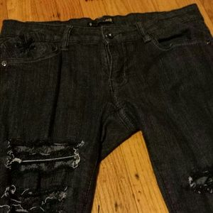 Jeans - Black jeans ripped with lace size 9