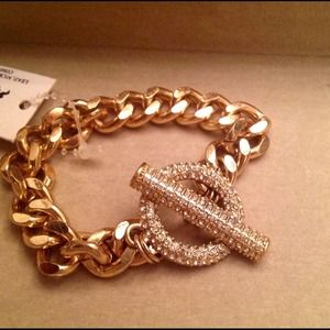 Fashion gold link bracelet with pave crystal CZs