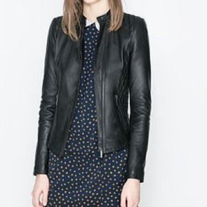 Zara Jackets & Blazers - Zara quilted lambskin leather jacket size XS
