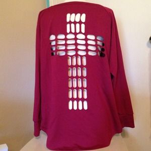 Tops - Thick, long sleeve, cross cut back, dark red top