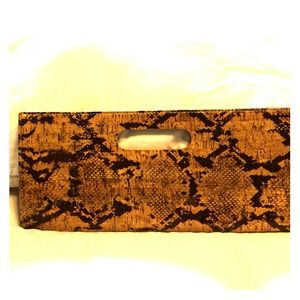 Faux Snake Skin Clutch Bag