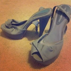 Shoes - Gray ankle-strap stilettos