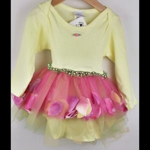 New Beary Basics Yellow & Pink Tutu Dress