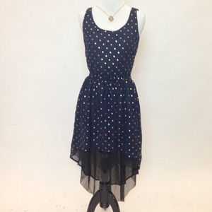 Love Audrey 3+1 Dresses & Skirts - Blue & Gold Printed High-Low Dress