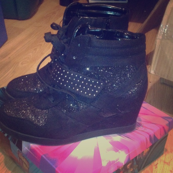 Black Glitter Wedge Sneakers   Poshmark