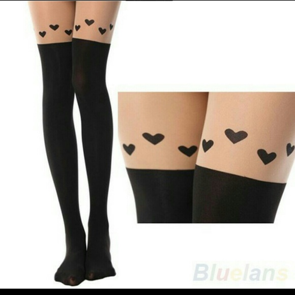 b3f09bb3dd7fd Accessories | Faux Over The Knee Tights Stockings With Heart | Poshmark