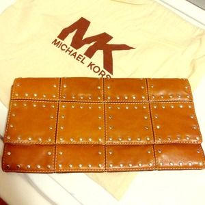 Michael Kors Brown stud leather clutch