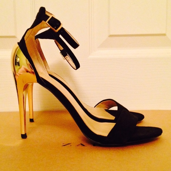 67% off Zara Shoes - Reduced! ZARA Heels Gold Black Ankle Strap ...