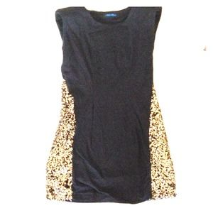 Black with gold sequin mini dress
