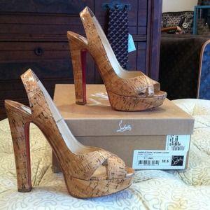 Auth Christian Louboutin cork heels sz 38.5