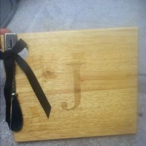 Accessories - monogram cheese board w spreader