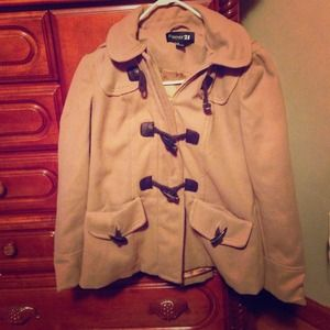 REDUCED Beige Toggle coat w/ detachable hood