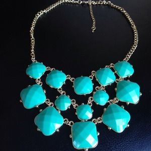 Teal squares triple row necklace