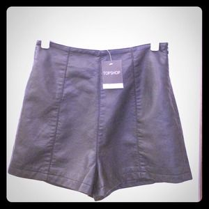 Topshop vegan leather high waisted shorts 