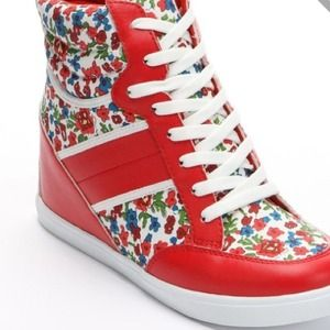 Shoes - Red floral wedge sneakers 2