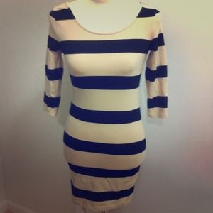 SOLD Beige striped bodicon dress