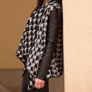 Houndstooth drape faux leather cardigan S