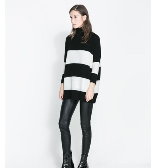 33% off Zara Sweaters - Zara stripe turtleneck swing sweater S ...