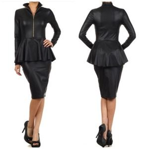 Faux Leather Zip up Peplum Dress